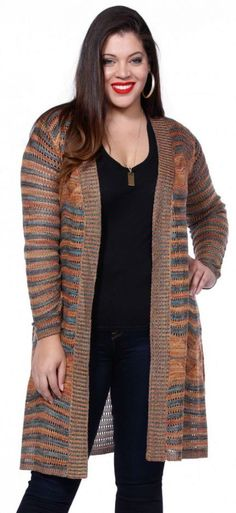 Orange and gray are an unexpected perfect match in this Belldini long cardigan! This outfit is perfect for Sunday morning brunch! Shrug Knitting Pattern, Sunday Brunch Outfit, Boutique Fashion, Plus Size Boutique, Long Cardigan, Plus Size Outfits, Winter Outfits, Latest Trends, Womens Fashion