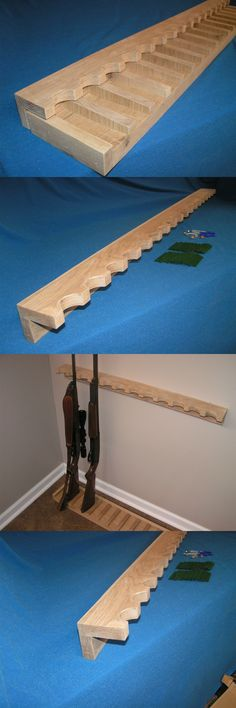 Racks 73961: 18 Gun - Wood Closet Gun Rack With Floor Base- Solid Oak BUY IT NOW ONLY: $138.14