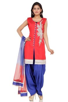 Chinese Red Dupion Embroidery patiala Suit