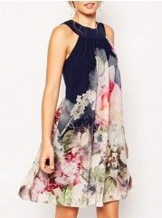 Floral Printed Elegant Halter Shift Dress