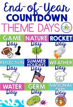 End of year fun! Count down the days until summer using these theme day lesson plans.