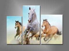 Espectacular triptico bordado a punto de cruz de caballos a galope. Precioso!!!