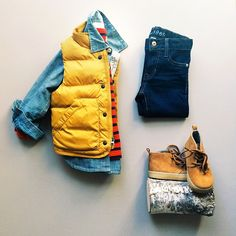 there's no such thing as too many (tiny) layers. Yellow Vest, Jeans Baby Gap