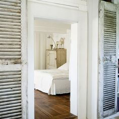 put weathered shutters on french doors M & M's room