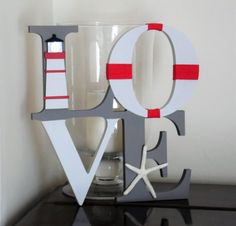 LOVE Sign-Nautical-Starfish-Lighthouse-Hand Painted-Grey and Red-Mantle Decoration-Freestanding-Home Decor-Valentines Gift-Wedding Gift All White Background, Gifts For Sailors, Mirror Tiles, Love Signs, Gift Wedding, Rustic Christmas, Mantle, Starfish, Valentine Gifts