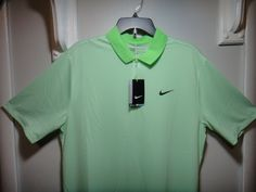 Nike Mens Golf Standard-Dry Fit Shirt Color Lime Green White Size LRG-TALL #NikeGolf #Golf Golf Clothing, Mens Golf, Nike Golf, Golf Outfit, Golf Shirts, Nike Dri Fit, Workout Shirts, Colorful Shirts, Nike Men