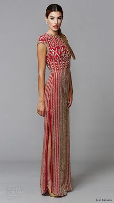 Jewel Neck, Cap Sleeves Red Sheath Column Gown