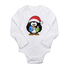 Christmas Penguin Long Sleeve Infant Bodysuit