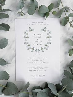 Wedding Invitation Template Green Wreath Eucalyptus Wedding