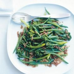 Green Beans And Broccolini With Bacon-Balsamic Dressing