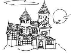 Spooky House Halloween Coloring Pages Printable For Preschoolers