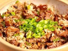 Clay Pot Chicken with Shiitake Mushrooms and Chinese Sausage : Recipes : Cooking Channel Easy Chinese Recipes, Asian Recipes, Ethnic Recipes, Asian Foods, Entree Recipes, Sausage Recipes, Rice Recipes, Meat Recipes, Chinese Chicken Dishes