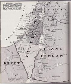 Map of Palestine from a 1947 issue of National Geographic. If you see today's map of Palestine you will know who has stolen the rest. Palestine Map, Palestine History, Israel History, Church History, National Geographic, Elie Wiesel, Heiliges Land, Allah, Terra Santa