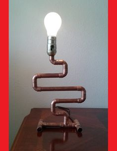 Copper pipe lamp The Copperhead by TonyLamps on Etsy