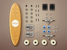 Iberica Skateboards features in the Design Shack gallery. A superb set of icons derived from the component pieces of a skateboard.I like the attention to detail and the sense of realism. Icon Design, Web Design, Logo Design, Graphic Design, Longboard Cruiser, Snowboard Design, Skateboard Design, Skateboards, Cool Stuff