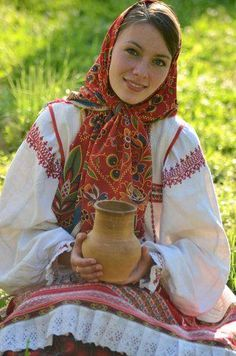 Russian girl in traditional costume.
