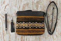Mud Cloth Leather Clutch || Cross Body Bag