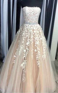 Strapless Prom Dress, Champagne Prom Dress#Tulle#Party#Evening#Real Sample Prom Dresses