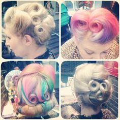 Pin curls #lucilleslocks look at these colours!