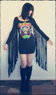 The Sword Fringe Sleeves T-Shirt Dress! - CLOTHING Craftster Best of 2014 Winning Project