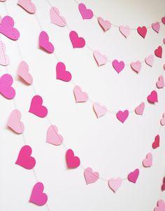 Pink Hearts Paper Garland