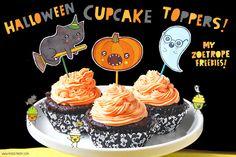 Freebie Halloween Cupcake Toppers by My Zoetrope! My sister makes the cutest things! Eeeeep!