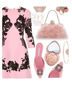 """Pink"" by ildiko-olsa ❤ liked on Polyvore featuring Dolce&Gabbana, Manolo Blahnik, Michael Kors, Too Faced Cosmetics and Allurez"