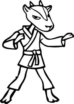 Awesome Karate Goat Coloring Page