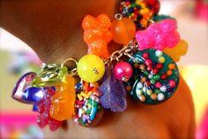 Yummi Gummi Love Charm Bracelet- Candy Resin Sprinkles and Glitter Gummi bears - Kitsch Kawaii