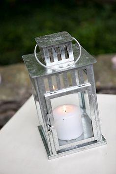 Garden Wedding Venue | Silver Tabletop Lantern - Photo: Phindy Studios