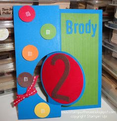 Stamp with Susie: Here is a M&M flip card for Brody!