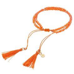 LC Lauren Conrad Birth Month Tasseled Slipknot Bracelet, Women's, Orange