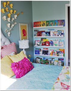 Kids room. I love the book shelves on the wall!