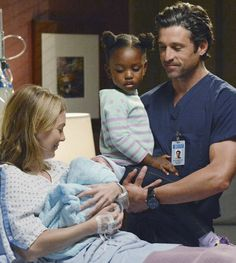 Grey's Anatomy season finale - Meredith, Derek, Zola, and new baby Bailey