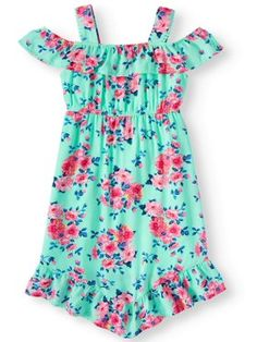 Ages 2-8yrs Girls Printed Summer Dress Shirring Sleeveless Cami Tunic Outfit