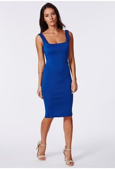 For a gorgeously red carpet inspired look, this lovely cobalt piece is the perfect way to go. The simplicity of this midi is the key, creating a beautiful silhouette to ensure all eyes are on you wherever you are. Style with gold accessorie...