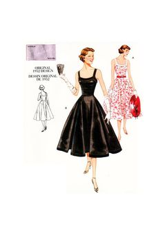 Vogue Patterns - Collections - Vintage Vogue - Page 1 Vogue Vintage, Vintage Vogue Patterns, Vintage Models, Vogue Dress Patterns, Vogue Sewing Patterns, Robe Swing, Swing Dress, Corsage, Full Skirt Dress