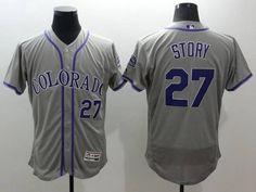 Men's Colorado Rockies #27 Trevor Story Gray 2016 Flexbase Majestic Baseball Jersey