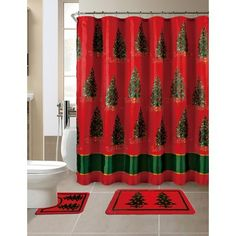 Season's Greetings 15 Piece Shower Curtain Bath Set 1 Bath Rug 1 Contour Mat 1 Shower Curtain 12 Piece Matching Roller Shower Curtain Hooks Piece, Merry Christmas Trees) ** Information can be found by clicking on the image. (This is an affiliate link). Christmas Shower Curtains, Christmas Bathroom Decor, Floral Shower Curtains, Plastic Curtains, Christmas Tree Themes, Merry Christmas, Xmas, Cheap Christmas, Green Christmas
