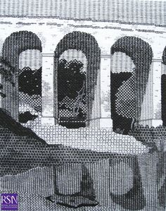 Design based on the watercolour of Crambe Beck Bridge, near Kirkham, North Yorkshire, 1805 by John Sell Cotman Blackwork Patterns, Blackwork Embroidery, Hand Embroidery, Embroidery Ideas, Monochrome, Drawn Thread, Contemporary Embroidery, Creative Embroidery, Hobbies And Crafts