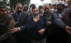 New Delhi's leader protests in his own city
