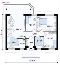 proiecte de case mici pe un singur nivel Small single level house plans 3 Garage House Plans, Craftsman House Plans, New House Plans, Modern House Plans, Small House Plans, House Floor Plans, Bungalow Haus Design, Bungalow Homes, Dream Home Design