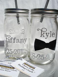 Personalized Mason Jars Bride & Groom
