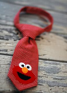 Little Guy Tie - Sesame Street Elmo Tie - Infant through 8 years - Pre-Tied with Adjustable Velcro Closure on Etsy, $18.00
