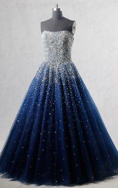 Royal Blue Strapless Sleeveless Beading Sequined Tulle Floor Length Long Prom Dress