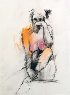 Harry Paul Ally //Figure Study No. 4// charcoal & pastel on paper; framed 30 x 22 paper size