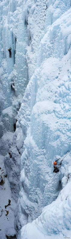Vertical Panorama at Ouray Ice Park of climbers, Colorado - MountainPhotography.com