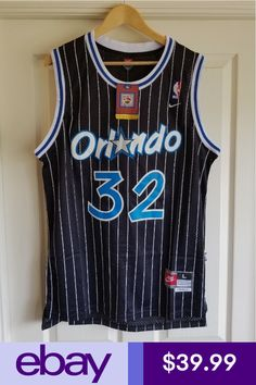 NWT Shaquille Shaq O neal Orlando Magic Black Throwback Swingman Jersey L c83e0cdc3