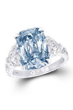 Graff rare fancy blue diamond ring, graffdiamonds.com.  Courtesy   - HarpersBAZAAR.com