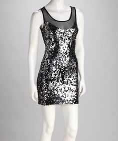 Take a look at this Black & Silver V-Neck Sequin Dress by Glamour Time: Women's Dresses on #zulily today!